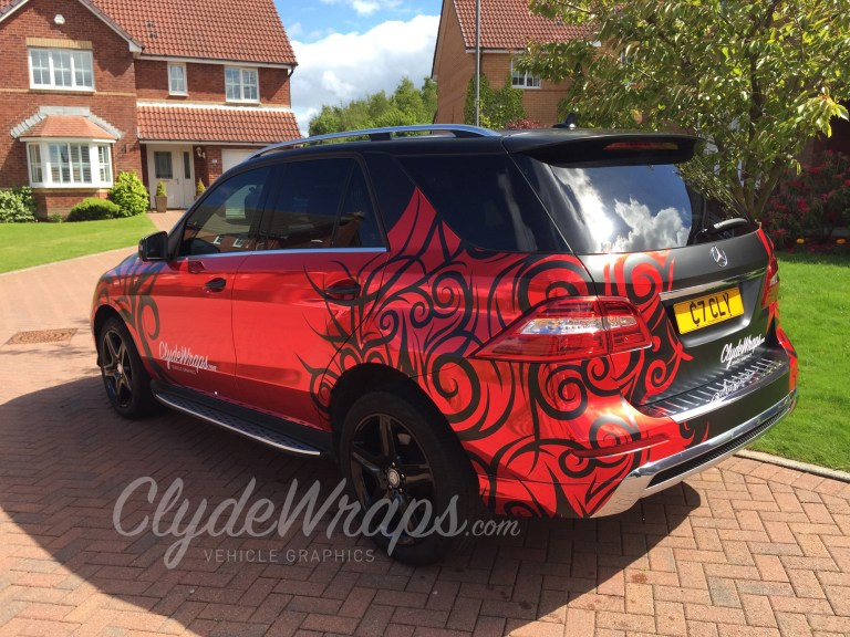 Chrome Red and Tribal Art 2015 Mercedes ML Wrap