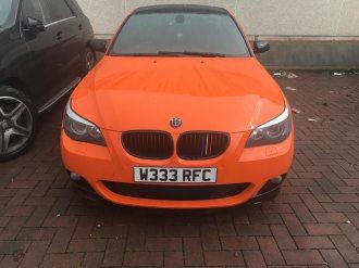 Bmw 5 Series Orange Black Colour Change Clyde Wraps