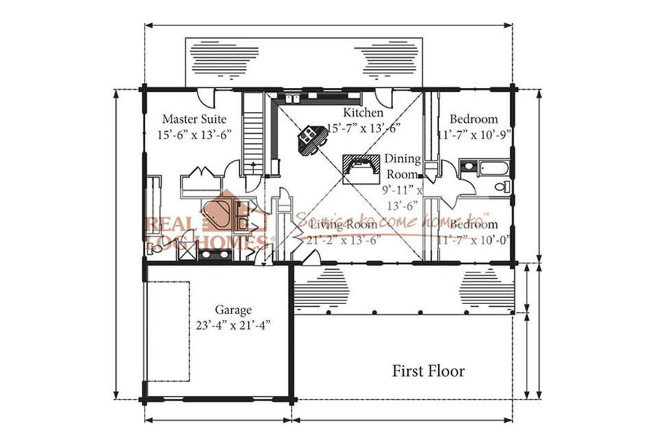 Lakeland Log Home Floorplan Real Log Homes C. M. Allaire