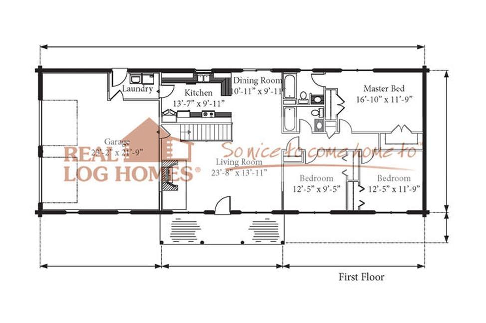Teton Economical Ranch Log Home Floorplan 2 Car Garage