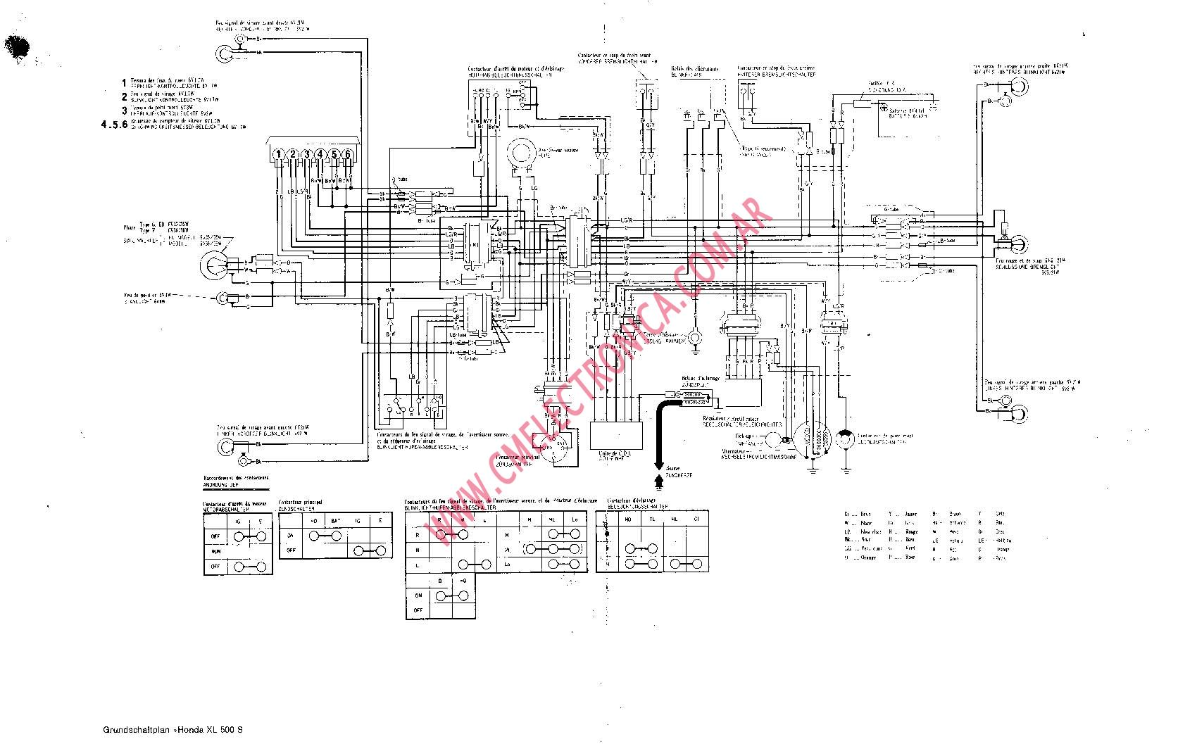 Wiring diagram honda xl 500