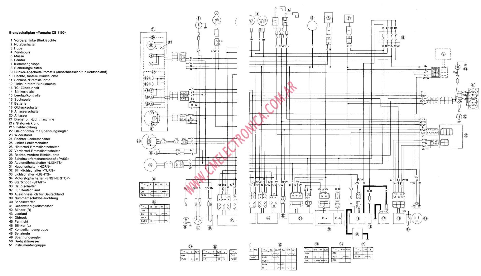 hight resolution of yamaha xs1100 factory owners repair manual 1978 1982 1978 xs1100 wiring diagram 1979 xs1100 wiring diagram