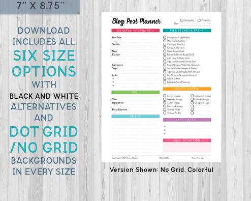 Make blog planning a breeze with these colorful blog post planner printables. Each download includes 4 options in six unique sizes designed to fit your letter, classic, A4, A5, Happy Planner, or Erin Condren planner.