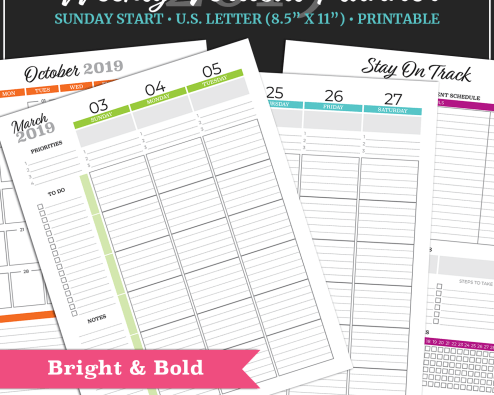 2019 Weekly Vertical Planner - US Letter - Bright & Bold - Sunday Start
