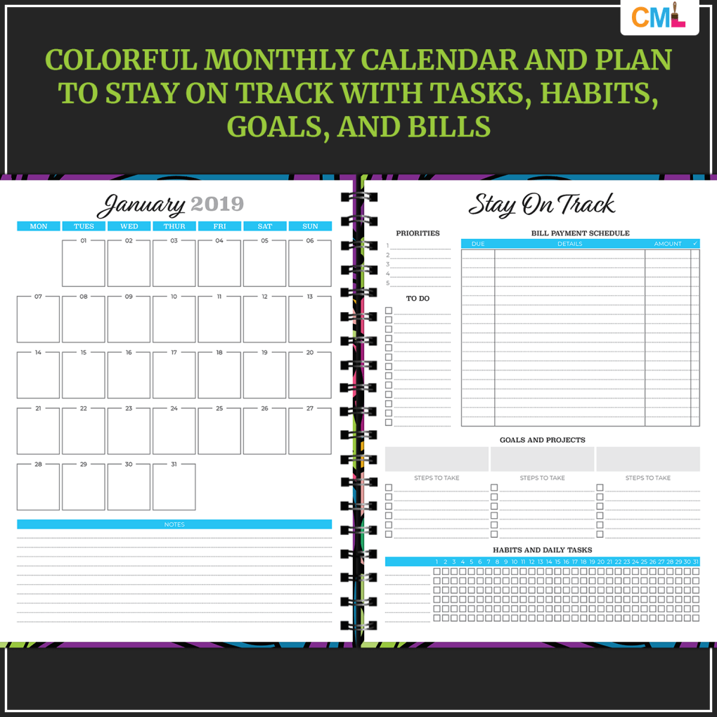 2019 Weekly Vertical Planner - US Letter - Bright & Bold