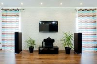 How do you mount home theater speakers in your living room?