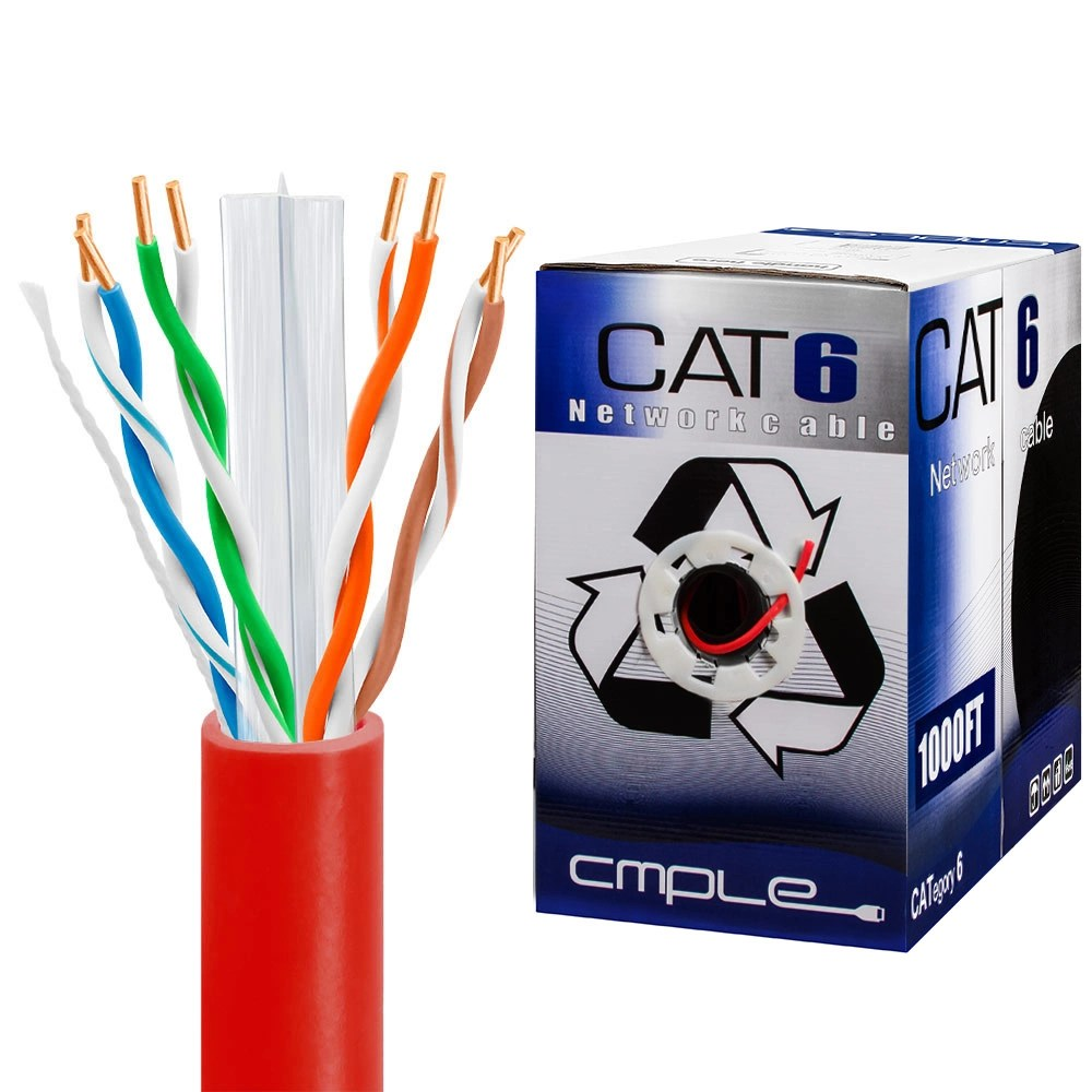 medium resolution of 550mhz cca cat6 red cable 1000ft box