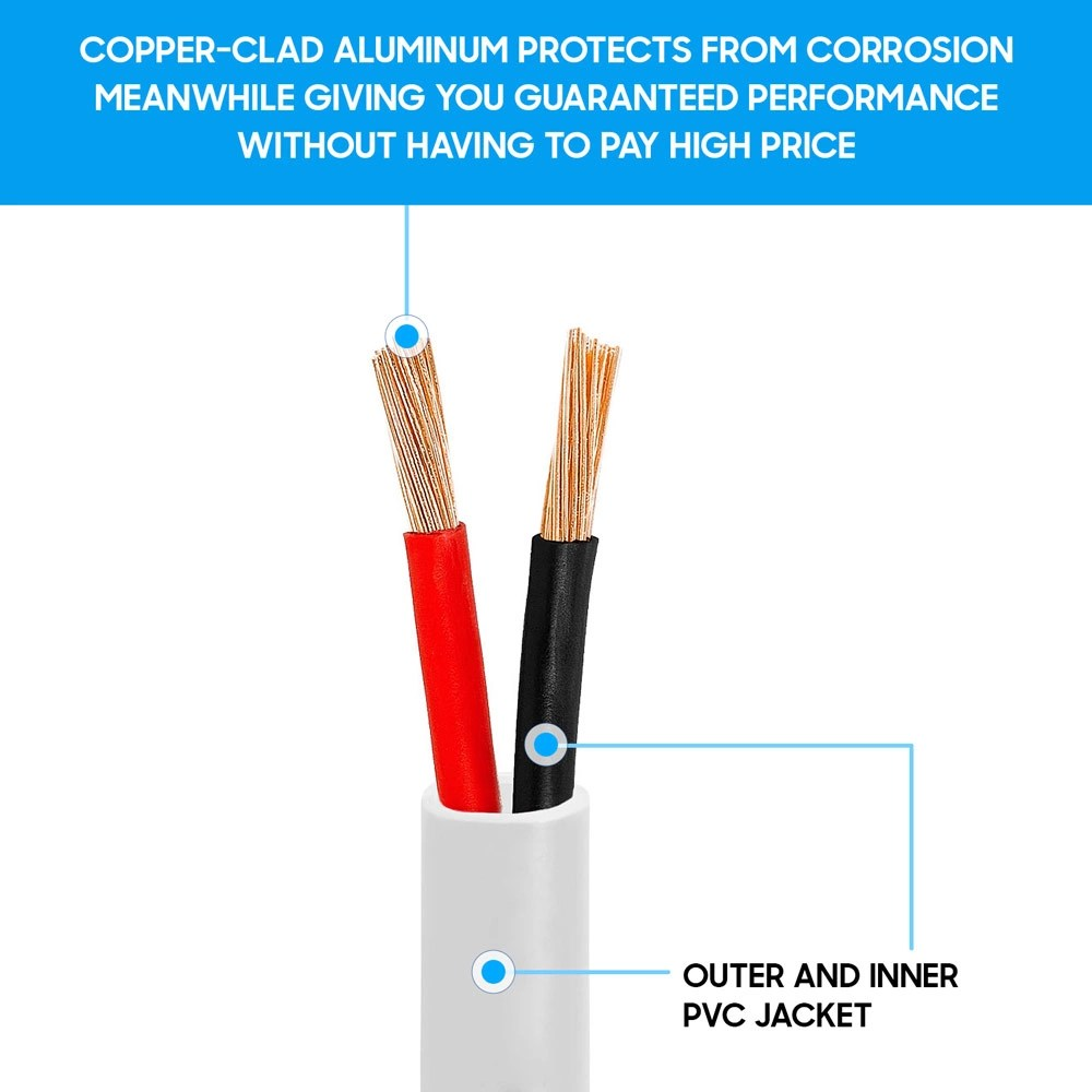 medium resolution of cmple 100ft 18awg speaker wire cable with 2 conductor speaker cable cca copper
