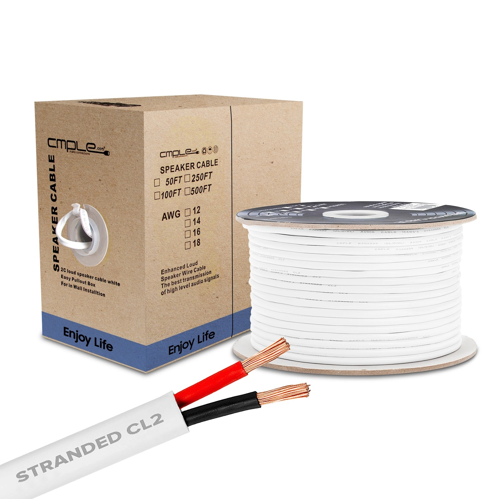 hight resolution of cmple 50ft 12awg speaker wire cable with 2 conductor speaker cable cca copper clad aluminum cl2 rated in wall speaker wire for home theater car audio