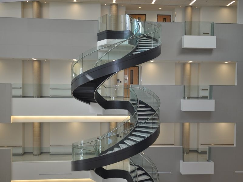 Curved Stair Stringer Custom Stair Stringer Spiral Staircase | 6 Foot Spiral Staircase | Reroute Galvanized | Stair Case | Mylen Stairs | Wood | Metal
