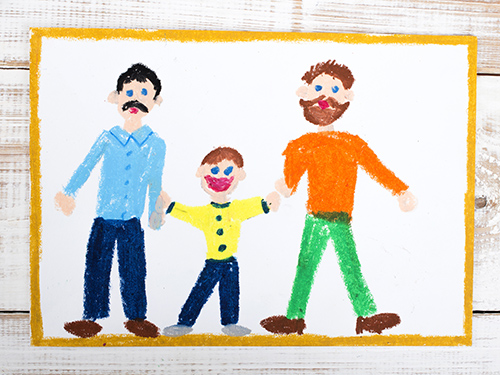 drawing of a happy couple of gay and adopted child
