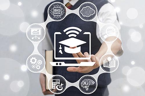 Online Smart Educational School Business Web Technology. Man wit