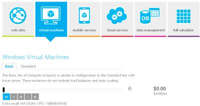 Microsoft Azure Calculator - Virtual Machines