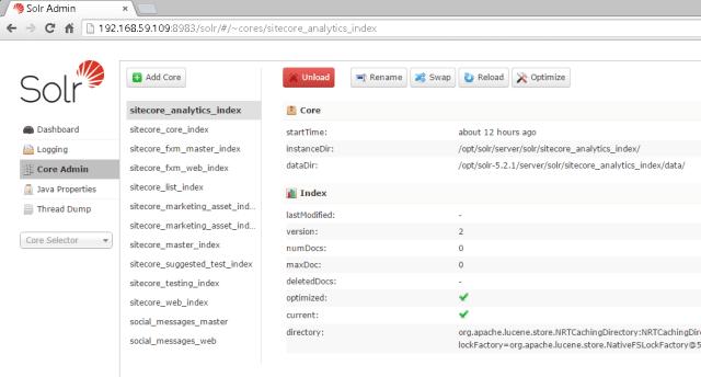 Solr Core Admin with Sitecore cores.
