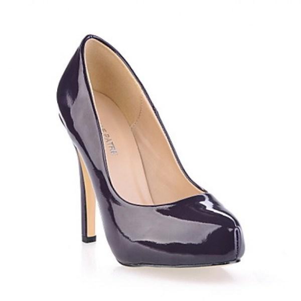 Dark Purple Patent Leather Stiletto Heel Womens Pumps