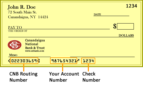 Cnb routing number canandaigua national bank amp trust