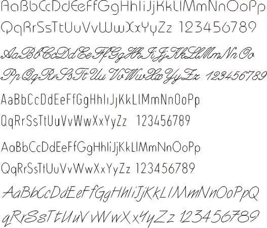 Gravurschriften  17 Einlinienschriften  Schriftarten