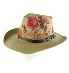 Floral print on straw hat