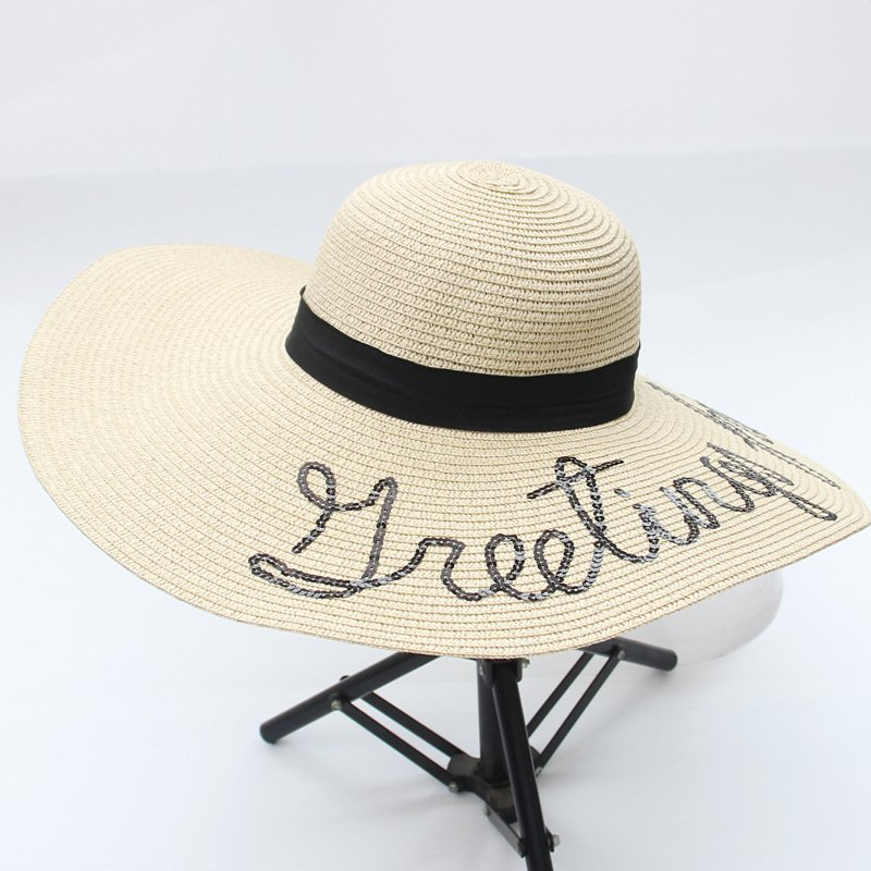 03aed2df Custom lady straw hat sun hat with embroidery - CNCAPS
