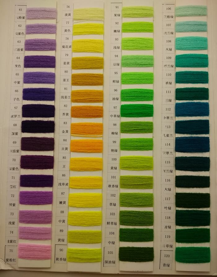 Knitting thread colors
