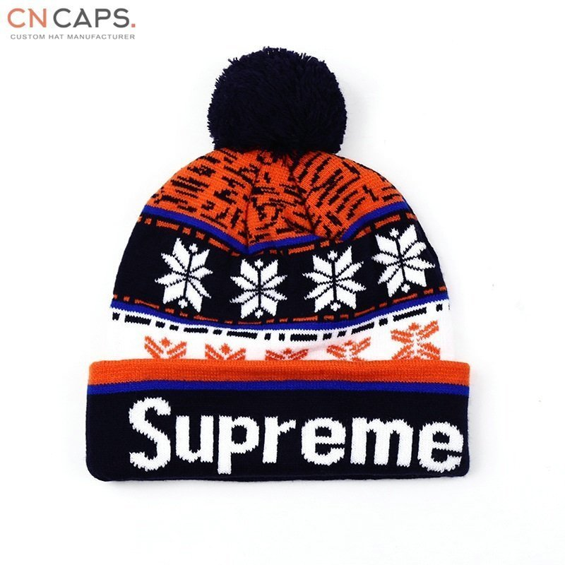 8068ec7b85289 Home Products Custom toques pom pom beanie hat with jacquard logo.   