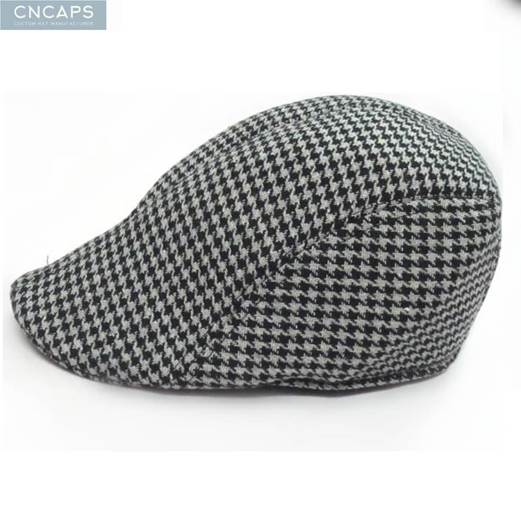 6e8db6a7983 Custom swallow grid flat cap vintage wool blend ivy cap - CNCAPS