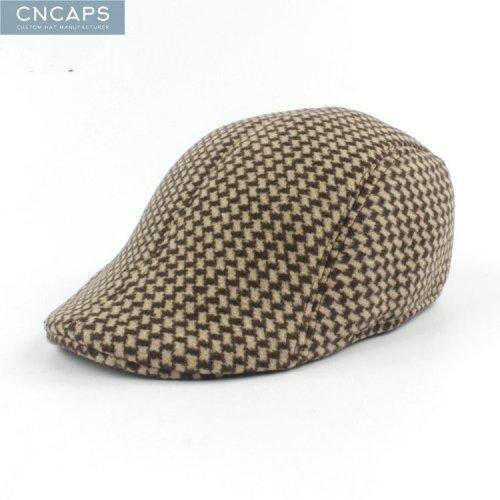 0fe4ae8aa6330 Custom irish driving cap swallow grid flat cap vintage wool blend