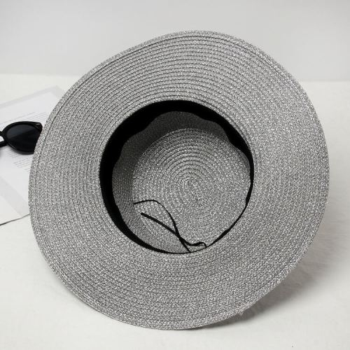 f664b3efb0328 Metallic Glitter Straw Hat Retro Braided Wide Brim Gold Sliver Flat Top  Metal Bee Anti-UV