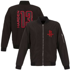 Men's Houston Rockets James Harden Fanatics Branded Black Player Full-Zip Bomber Jacket
