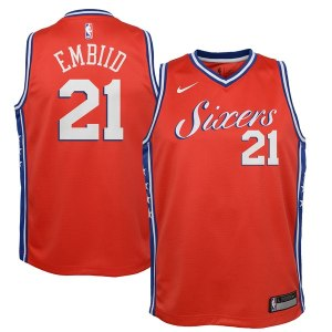 Youth Philadelphia 76ers Joel Embiid Nike Red Swingman Jersey - Statement Edition