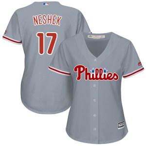 Phillies #17 Pat Neshek Grey Road Women's Stitched MLB Jersey