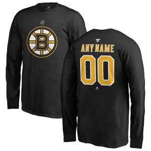 Youth Boston Bruins Fanatics Branded Black Personalized Team Authentic Long Sleeve T-Shirt