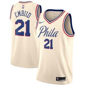 Men's Philadelphia 76ers Joel Embiid Nike Cream Swingman Jersey - City Edition