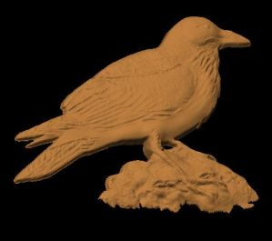 This is an image of a side view of a free cnc pattern of raven.
