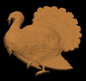 This is an image of free cnc pattern of a turkey with a side view.