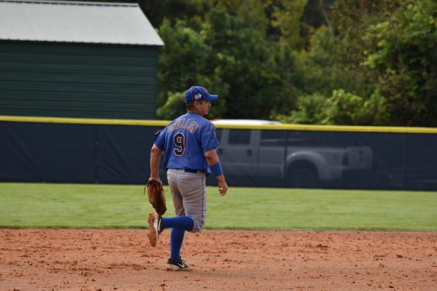 Kevin Grullon after making the play at third base against the Raleigh Rebels on 8/22/2020