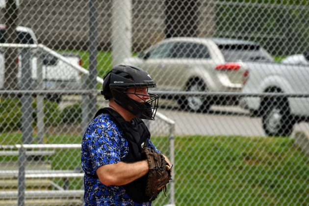 Rob Appel behind the plate against HWS Garages on 8/29/2020