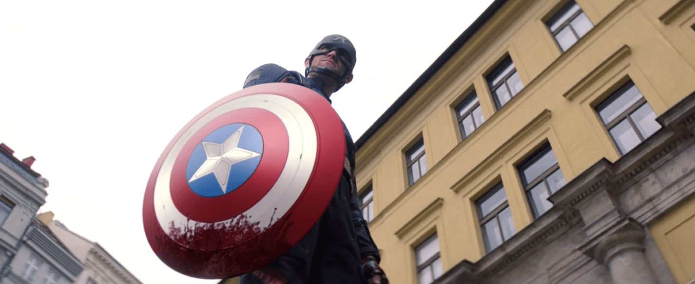 John Walker with bloodied shield in Falcon and Winter Soldier