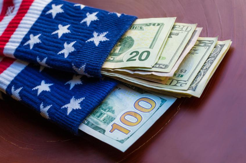 money-dollars-bills-sock-american-flag