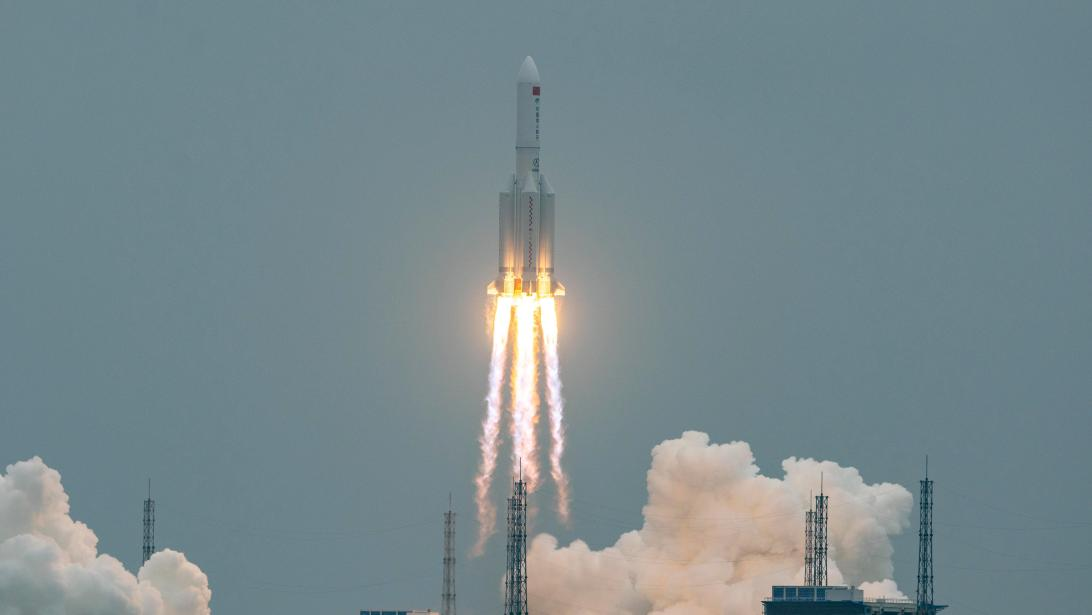 Tianhe1 Launch: The Long March 5B rocket that took the core module of the China Space Station to orbit.