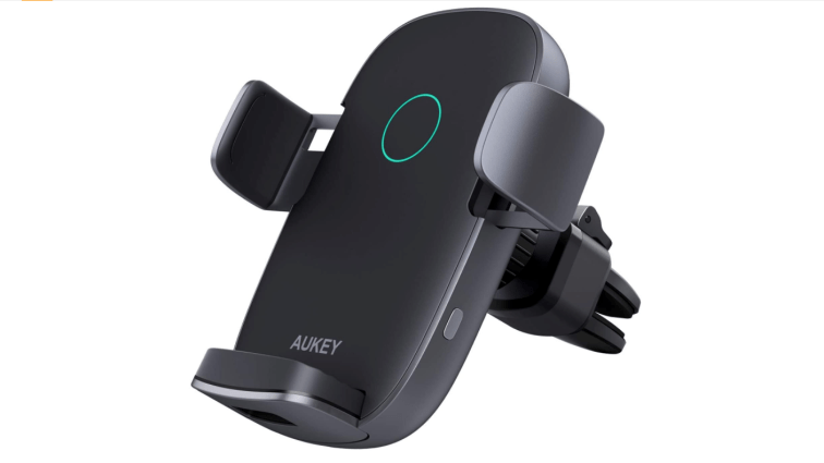 aukey wireless car charger 10w qi fast charging auto clamping