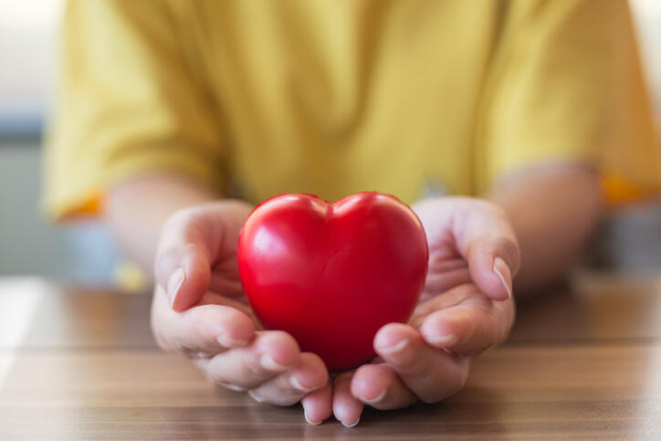 Person holding a plastic heart in hand
