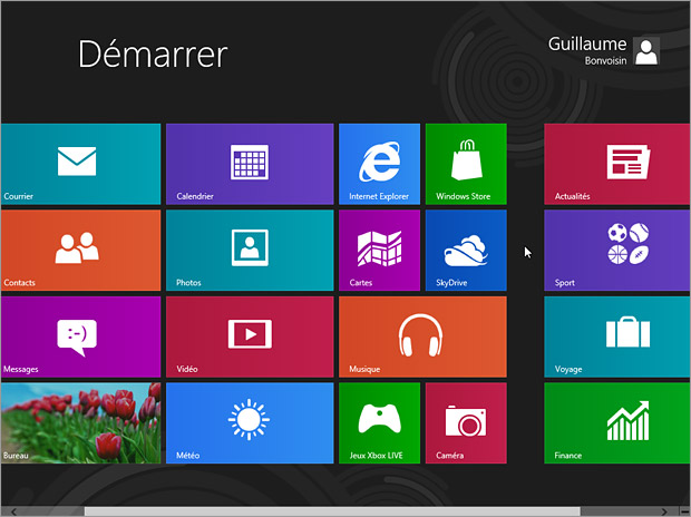 Accueil Metro de Windows 8