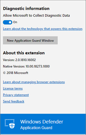 Extensions Windows Defender Application Guard