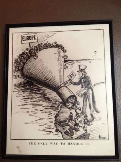 Caricature représentant le flot d'immigrants européens aux Etats-Unis
