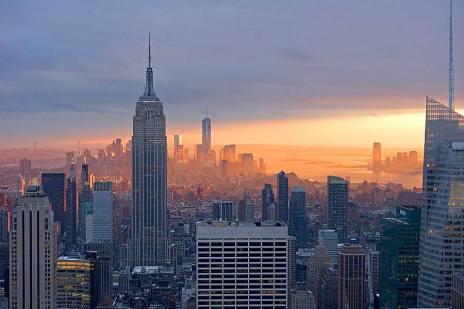 Coucher de soleil sur Manhattan depuis le Top of the Rock