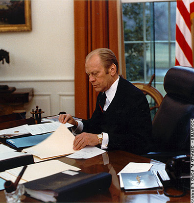 President Ford sitting in the Oval Office - Photo ©CNN.com