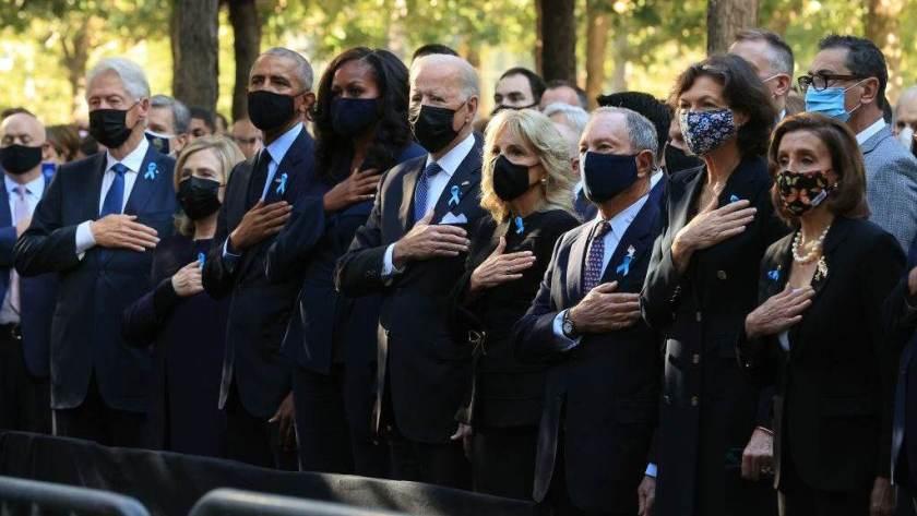 Bill Clinton, Hillary Clinton, Barack Obama, Michelle Obama, Joe Biden and Jill Biden Pay tribute to 9/11 victims