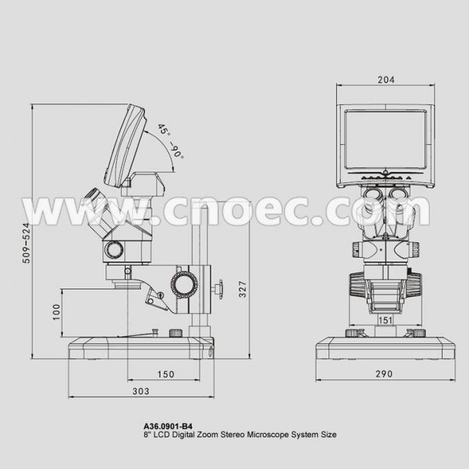 0.7x-4.5x Stereo Zoom Digital LCD Microscope Trinocular