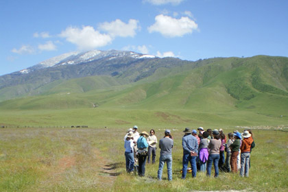 CNPS workshop participants listen to a local rancher
